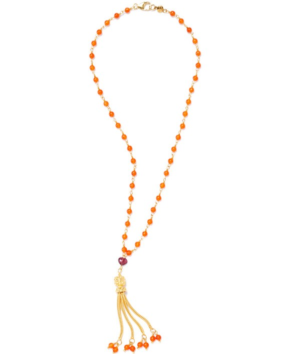 Tassel on orange chain