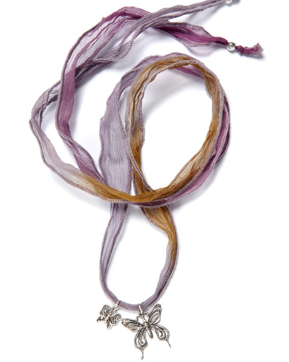 Silk Ribbons Lilac Brown