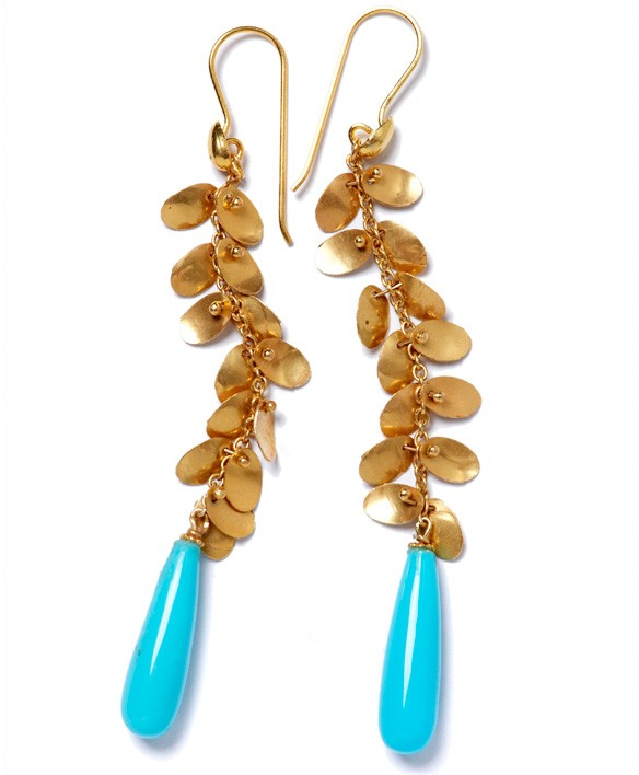 Golden Leaves & Turquoise Drops
