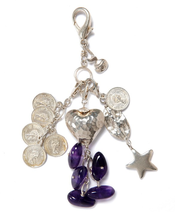Lilac Nuggets and Coins Charm